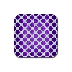 Circles2 White Marble & Purple Brushed Metal (r) Rubber Square Coaster (4 Pack)