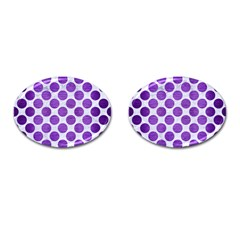 Circles2 White Marble & Purple Brushed Metal (r) Cufflinks (oval)