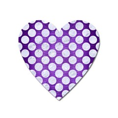 Circles2 White Marble & Purple Brushed Metal Heart Magnet by trendistuff