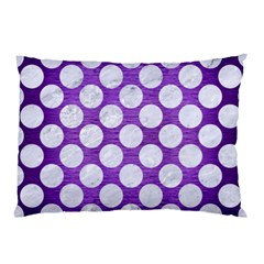 Circles2 White Marble & Purple Brushed Metal Pillow Case (two Sides)