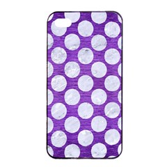 Circles2 White Marble & Purple Brushed Metal Apple Iphone 4/4s Seamless Case (black) by trendistuff