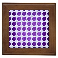 Circles1 White Marble & Purple Brushed Metal (r) Framed Tiles