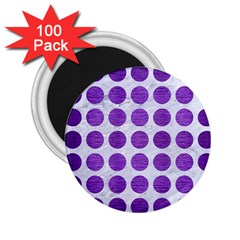Circles1 White Marble & Purple Brushed Metal (r) 2 25  Magnets (100 Pack)