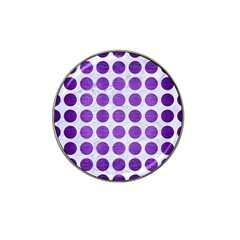 Circles1 White Marble & Purple Brushed Metal (r) Hat Clip Ball Marker