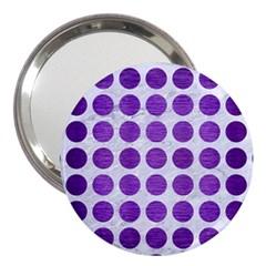 Circles1 White Marble & Purple Brushed Metal (r) 3  Handbag Mirrors