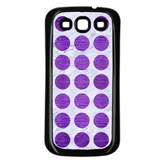 Circles1 White Marble & Purple Brushed Metal (r) Samsung Galaxy S3 Back Case (black)