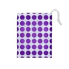 Circles1 White Marble & Purple Brushed Metal (r) Drawstring Pouches (medium)