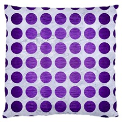 Circles1 White Marble & Purple Brushed Metal (r) Large Flano Cushion Case (two Sides)