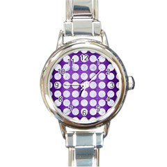 Circles1 White Marble & Purple Brushed Metal Round Italian Charm Watch