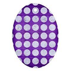Circles1 White Marble & Purple Brushed Metal Ornament (oval)