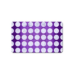 Circles1 White Marble & Purple Brushed Metal Magnet (name Card)