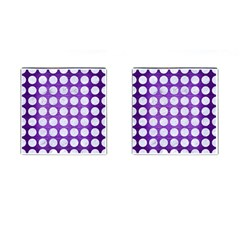Circles1 White Marble & Purple Brushed Metal Cufflinks (square)