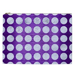Circles1 White Marble & Purple Brushed Metal Cosmetic Bag (xxl)