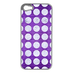 Circles1 White Marble & Purple Brushed Metal Apple Iphone 5 Case (silver)