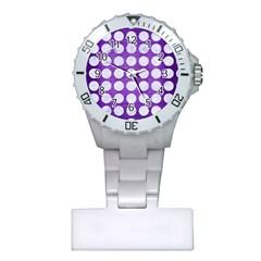 Circles1 White Marble & Purple Brushed Metal Plastic Nurses Watch by trendistuff
