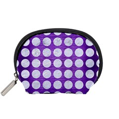 Circles1 White Marble & Purple Brushed Metal Accessory Pouches (small)  by trendistuff