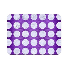 Circles1 White Marble & Purple Brushed Metal Double Sided Flano Blanket (mini)
