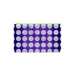 Circles1 White Marble & Purple Brushed Metal Cosmetic Bag (xs) by trendistuff