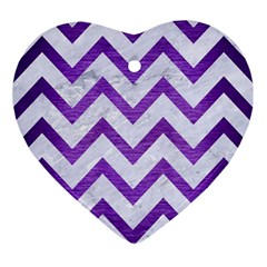Chevron9 White Marble & Purple Brushed Metal (r) Ornament (heart)