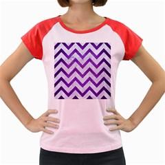 Chevron9 White Marble & Purple Brushed Metal (r) Women s Cap Sleeve T Shirt