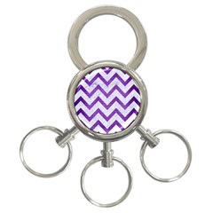 Chevron9 White Marble & Purple Brushed Metal (r) 3 Ring Key Chains