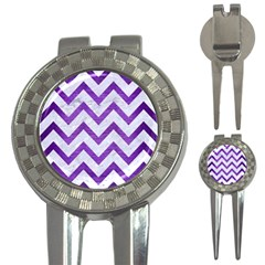Chevron9 White Marble & Purple Brushed Metal (r) 3 In 1 Golf Divots by trendistuff