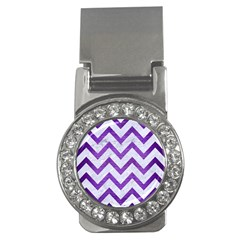 Chevron9 White Marble & Purple Brushed Metal (r) Money Clips (cz)