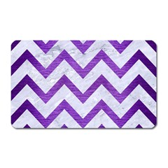 Chevron9 White Marble & Purple Brushed Metal (r) Magnet (rectangular)