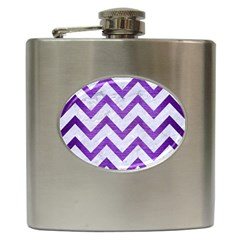 Chevron9 White Marble & Purple Brushed Metal (r) Hip Flask (6 Oz)