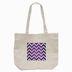 Chevron9 White Marble & Purple Brushed Metal (r) Tote Bag (cream)