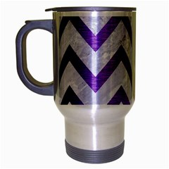 Chevron9 White Marble & Purple Brushed Metal (r) Travel Mug (silver Gray)