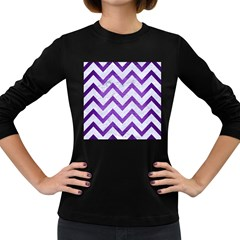 Chevron9 White Marble & Purple Brushed Metal (r) Women s Long Sleeve Dark T Shirts