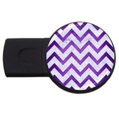 Chevron9 White Marble & Purple Brushed Metal (r) Usb Flash Drive Round (4 Gb)