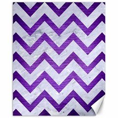 Chevron9 White Marble & Purple Brushed Metal (r) Canvas 11  X 14