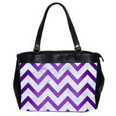 Chevron9 White Marble & Purple Brushed Metal (r) Office Handbags (2 Sides)