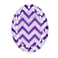 Chevron9 White Marble & Purple Brushed Metal (r) Ornament (oval Filigree)