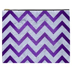 Chevron9 White Marble & Purple Brushed Metal (r) Cosmetic Bag (xxxl)