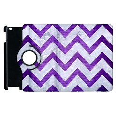 Chevron9 White Marble & Purple Brushed Metal (r) Apple Ipad 3/4 Flip 360 Case