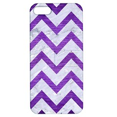 Chevron9 White Marble & Purple Brushed Metal (r) Apple Iphone 5 Hardshell Case With Stand