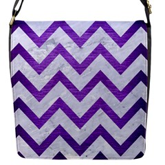 Chevron9 White Marble & Purple Brushed Metal (r) Flap Messenger Bag (s)