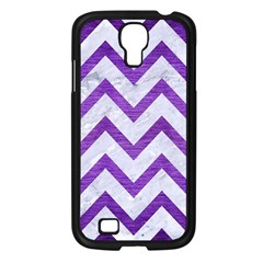 Chevron9 White Marble & Purple Brushed Metal (r) Samsung Galaxy S4 I9500/ I9505 Case (black)
