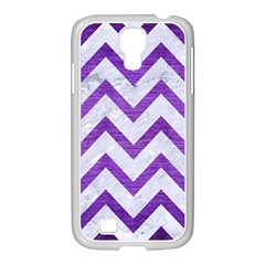 Chevron9 White Marble & Purple Brushed Metal (r) Samsung Galaxy S4 I9500/ I9505 Case (white)