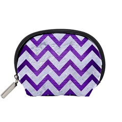 Chevron9 White Marble & Purple Brushed Metal (r) Accessory Pouches (small)