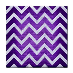 Chevron9 White Marble & Purple Brushed Metal Tile Coasters