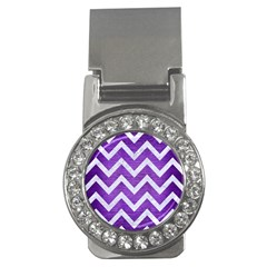 Chevron9 White Marble & Purple Brushed Metal Money Clips (cz)