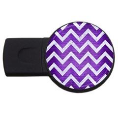 Chevron9 White Marble & Purple Brushed Metal Usb Flash Drive Round (2 Gb)