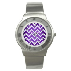 Chevron9 White Marble & Purple Brushed Metal Stainless Steel Watch