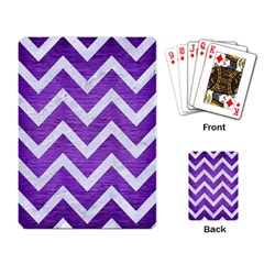 Chevron9 White Marble & Purple Brushed Metal Playing Card by trendistuff
