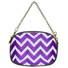 Chevron9 White Marble & Purple Brushed Metal Chain Purses (two Sides)  by trendistuff