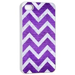Chevron9 White Marble & Purple Brushed Metal Apple Iphone 4/4s Seamless Case (white)